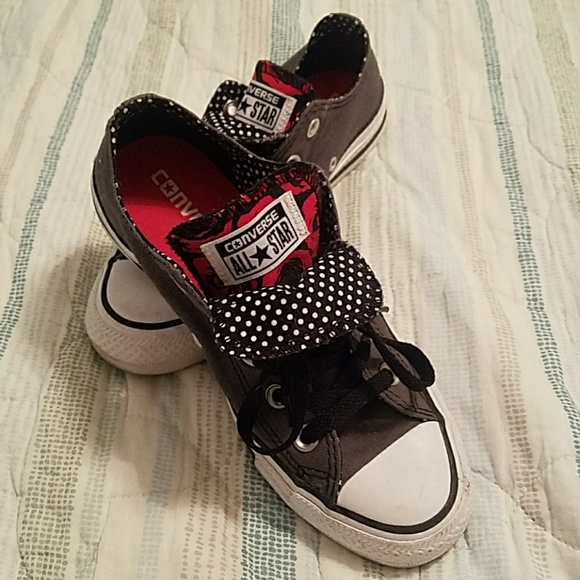 cb17d9c5f3bc Charcoal gray double tongue Converse sneakers